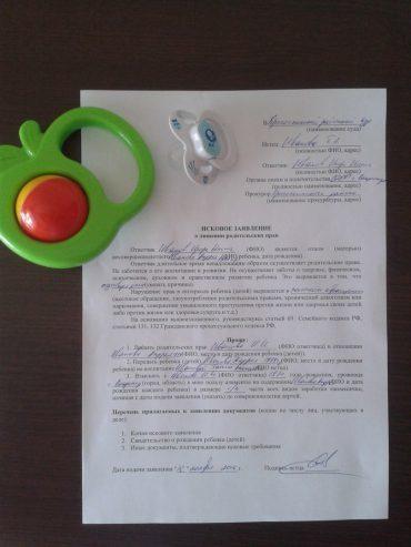 Заявление об ограничении в родительских правах: пример, бланк