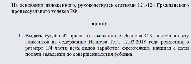 Судебный приказ о взыскании алиментов в 2020 году - образец, госпошлина, порядок выдачи содержание