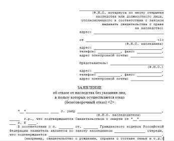 Расписка о получении денежных средств за отказ от наследства: образец, Необходимые документы, Справочник шаблонов